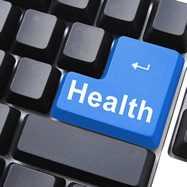 Blue health button keyboard