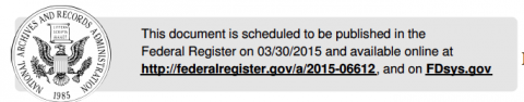 ONC document on Federal Register